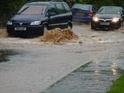 Flooding on Woolbrook Road, Sidmouth on 21 June 2012.
