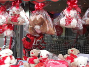Special 'Valentine's Day Display' outside a cafe on High Street North, Man