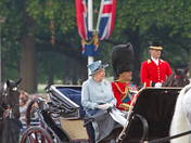 Her Majesty The Queen with Prince Phillip during trooping the colour 2011