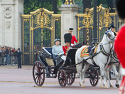 """""""Is it going to rain dear?"""" The Queen & Prince Phillip on their way to trooping"""