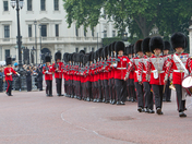 Marching soldiers in Bearskin hats during the trooping the colour 2011