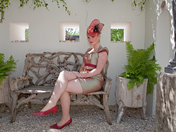The lady in red at the Chelsea Flower Show 2011