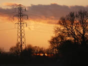 Sun setting over Drinkstone at 3.45 today.