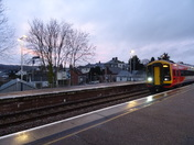A pink sky at dusk, seen from Honiton Station.