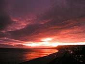 Sunset over Budleigh beach