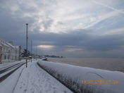 Early morning snow at Exmouth sea-front, Monday 19th March 2018.