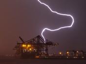 Lighting strikes over the  Port of Felixstowe