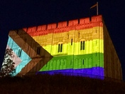 Norwich Castle lit up for Virtual Norwich Pride