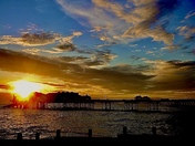 Sunrise over pier