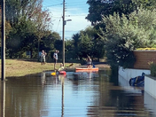 Canoeing on the flood