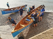 Launching the gig boats in Sidmouth