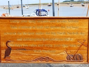 BEAUTIFYLLY CARVED SIGN AT WELLS HARBOUR