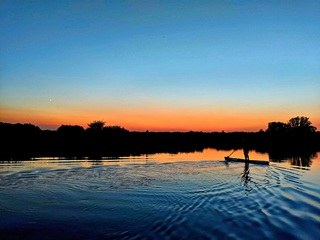 Paddling in the sunset on the broads
