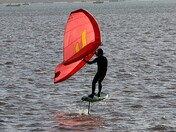 Hydrofoil surfing on the Exe at Lympstone