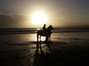 Sun-set bareback riding at Orcambe Point