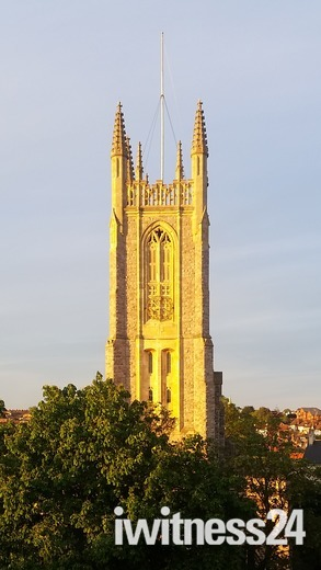Sunny church tower
