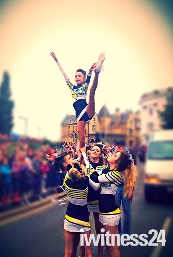 Falcons Cheerleaders at Barnstaple Carnival.