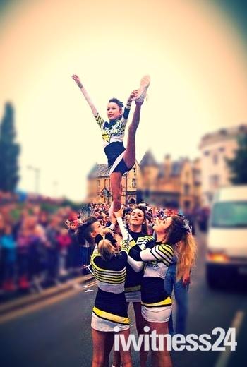 Falcons Cheerleaders at Barnstaple Carnival.