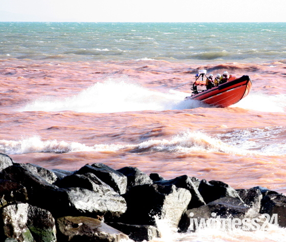 Lifeboat drill off Sidmouth beach