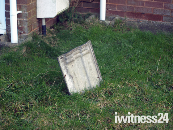 Roof tiles blown of roof in gusty wind in South Molton last night