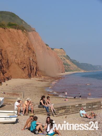 Mud slide Sidmouth Beach