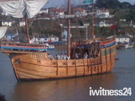 The Matthew coming into Bideford Quay