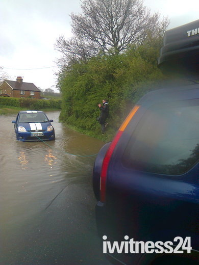 Team Poth rescue motorist stranded on flooded road!