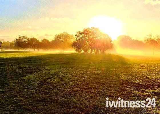 Sunrise and ground mist over Harrowlodge Park