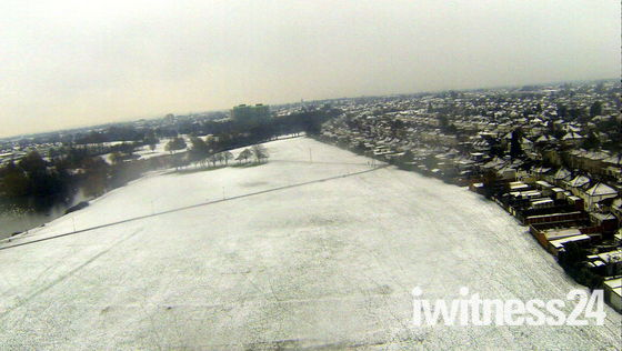 Snowy Hornchurch from above