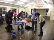 Pancake flipping on Shrove Tuesday at Catterall Hall by the Ilford East Scout Ex