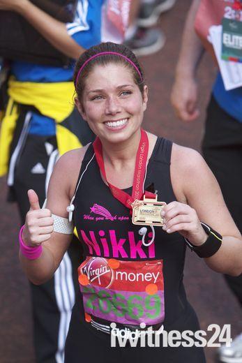 Sophie Raworth & Nikki Sanderson finish the London Marathon