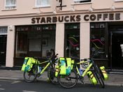 London Ambulance Service Bikes parked outside Starbucks Coffee in Greenwich