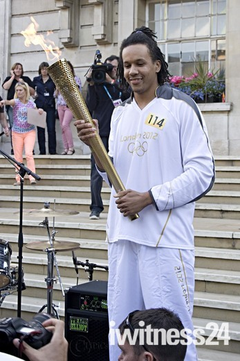 the Olympic Torch in Hackney
