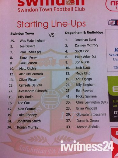 Swindon Town v & Dagenham & Redbridge team sheet