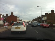 Traffic queues into town from  Wherstead