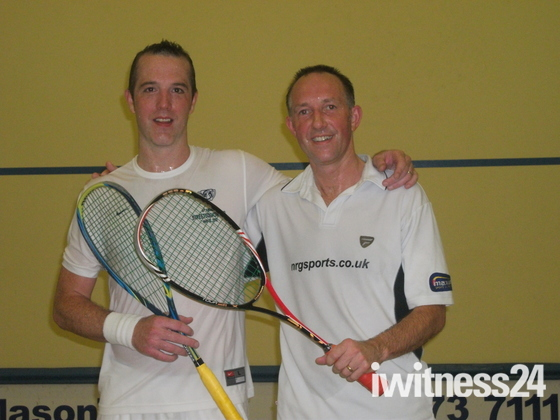 Mark Baggott and Bradley Ball after a squash match