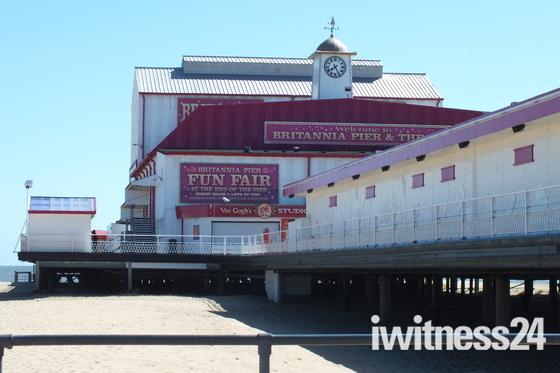 Britannia Pier on a warm spring day.