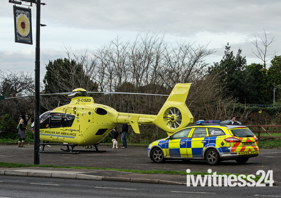 East Anglian Air Ambulance lands in Bradwell at the Sun Inn