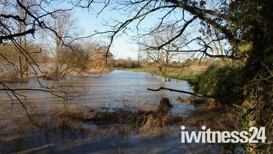Mells, Suffolk. Flooding of Fields.