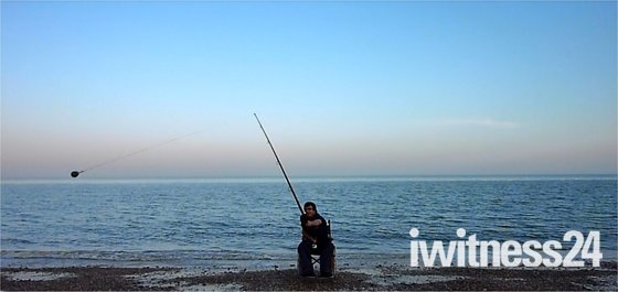Fishing Cast from Wheelchair on Pakefield Beach