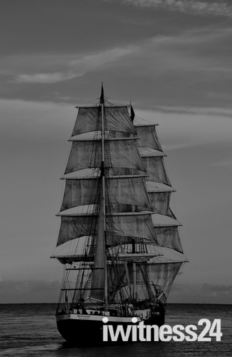 Tall Ship Mercedes off Gorleston Beach .in B&W