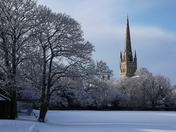 Norwich Cathedral, a Christmas card scene