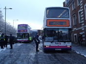 Buses stranded on Castle Meadow