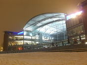 Night view of the Forum on a snowy evening