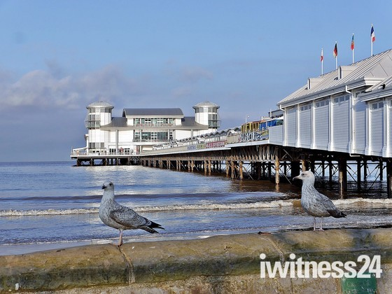 Birds eye view of Weston Pier.