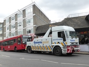 News - Buss being toed from Ilford Station