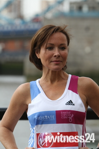 Amanda Mealing prior to the London Marathon at Tower bridge