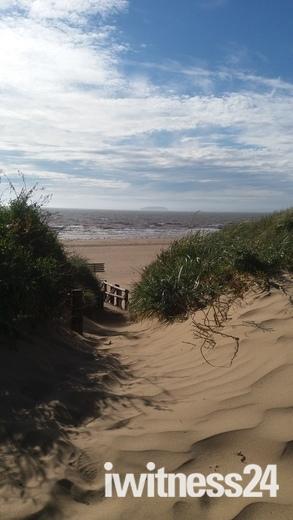 Brean beach at high tidd