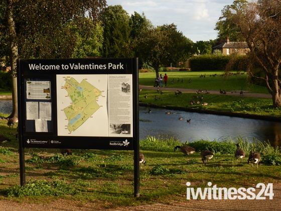 Scene in Valentine park Ilford.