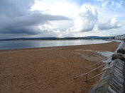 What a heavy shower of rain has done to Exmouth beach.